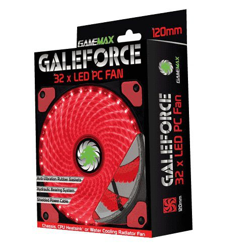 Cooler Gabinete Gamemax GF12R 120x120x25mm 32LEDs VERMELHO