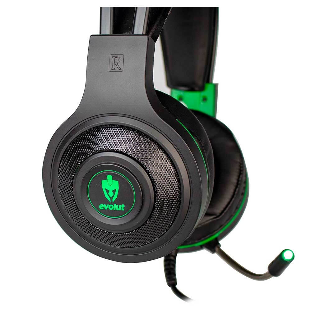 Combo Headset Evolut Têmis Verde + Cabo Adaptador EO-02