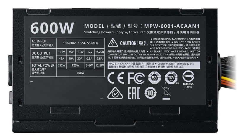 Fonte Cooler Master Elite V3 600W MPW-6001-ACAAN1-WO