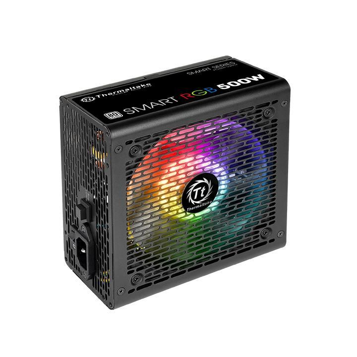 Fonte TT Esports 500W Smart RGB 80+ FAN PS-SPR-0500NHFAWB