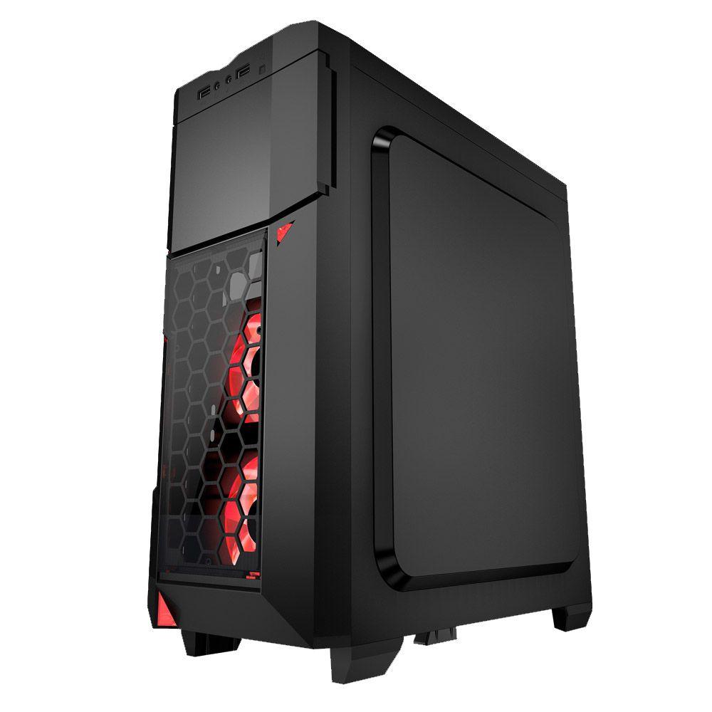 Gabinete Gamer K-mex Azza Crimson 211 Led Vermelho