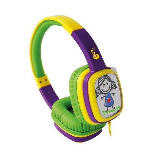 Headphone Oex Cartoon Infantil Hp302 Colorido Verde/Roxo