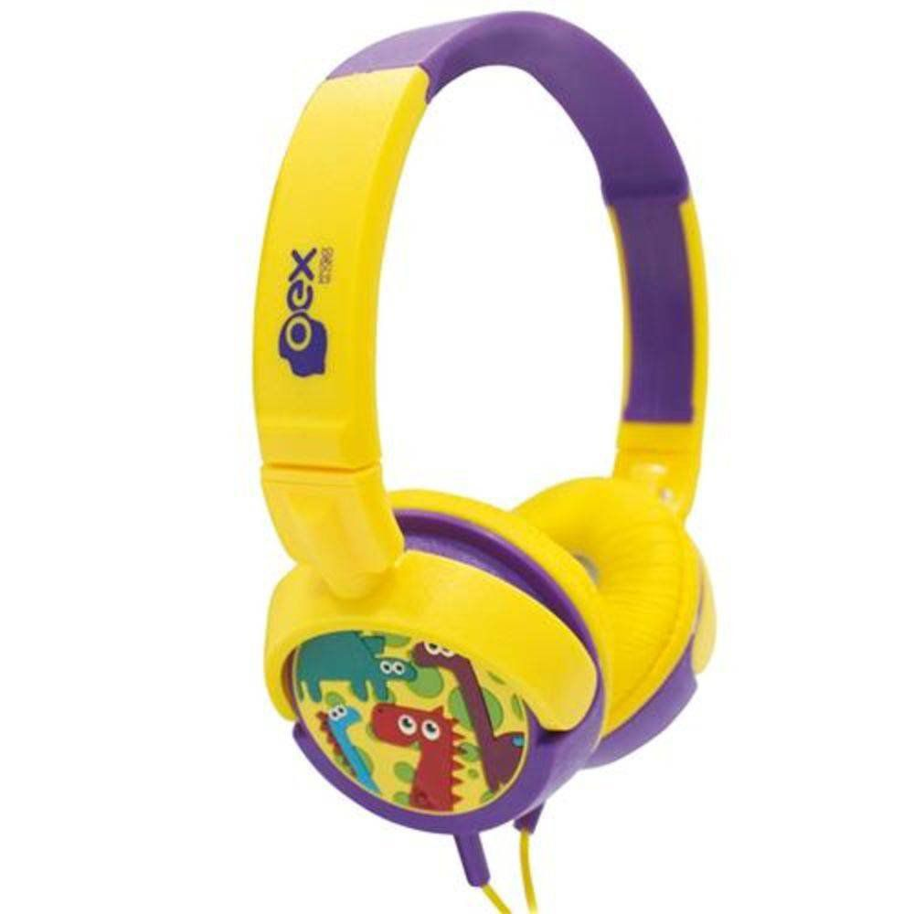 Headphone Oex Dino Infantil Hp300 Amarelo e roxo