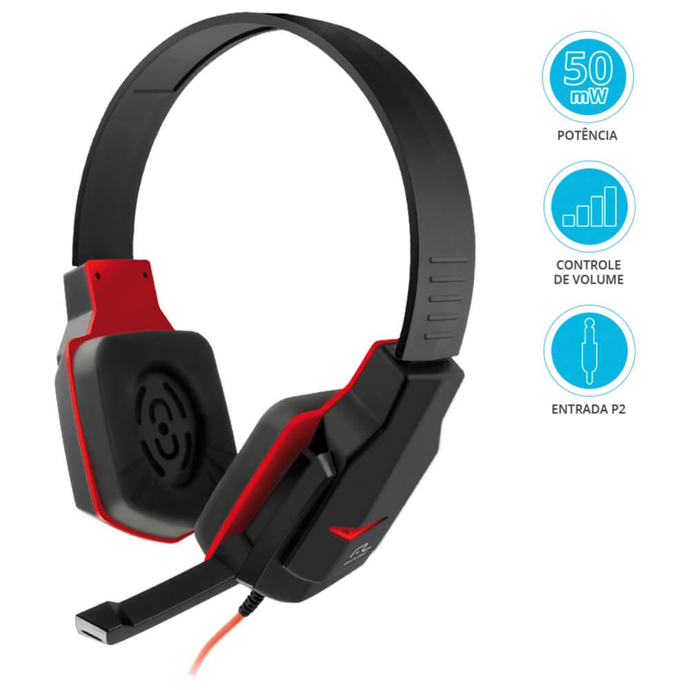 Headset Gamer Multilaser Preto/Vermelho PH073
