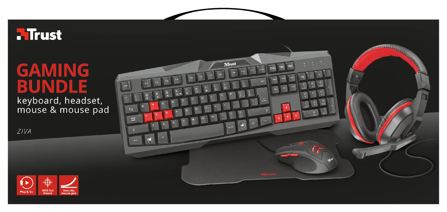 Kit Gamer TRUST ZIVA 4X1 Teclado/Mouse/Mouse Pad/ Headset T22428