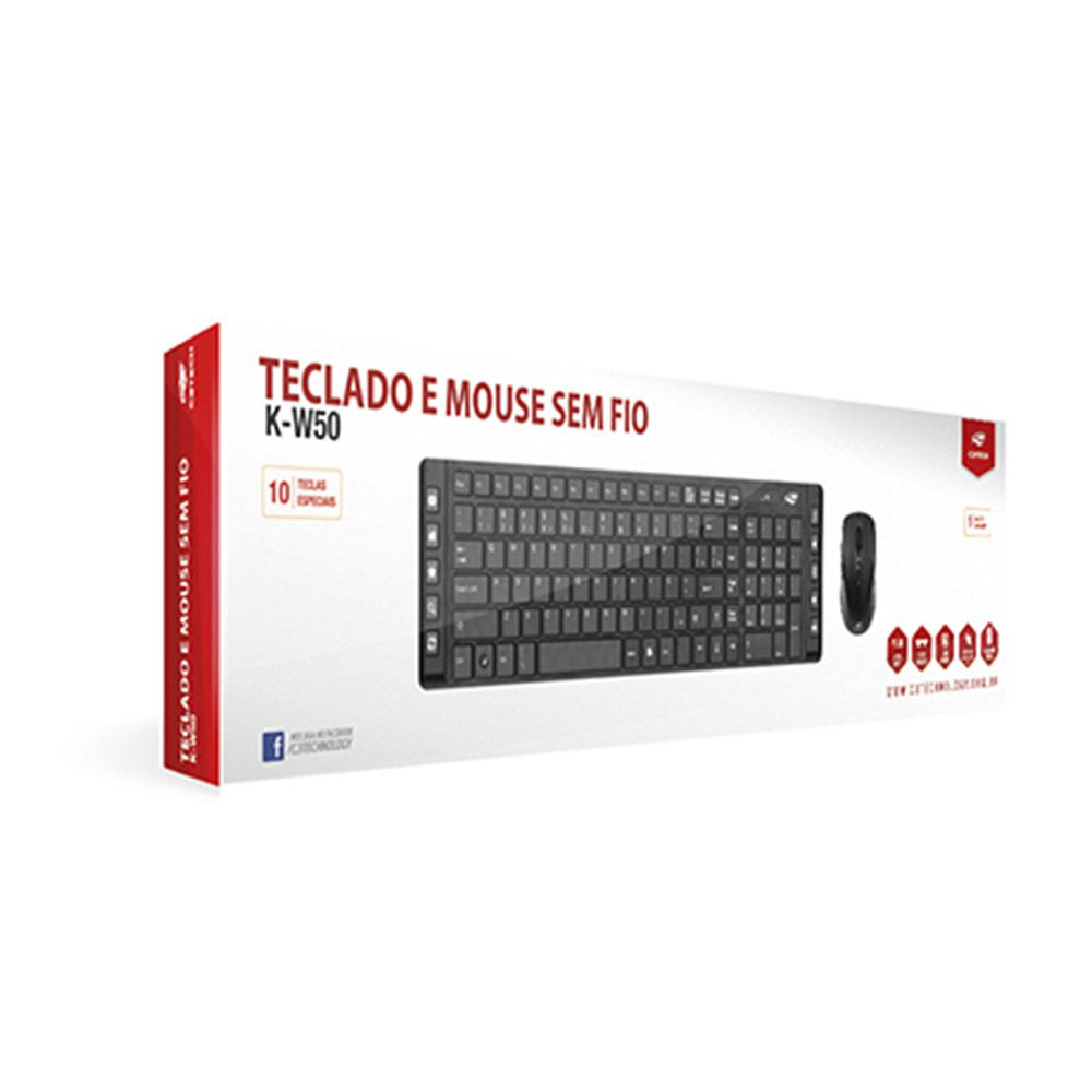 Kit Teclado e Mouse C3Tech K-W50BK Wireless Multimidia Preto