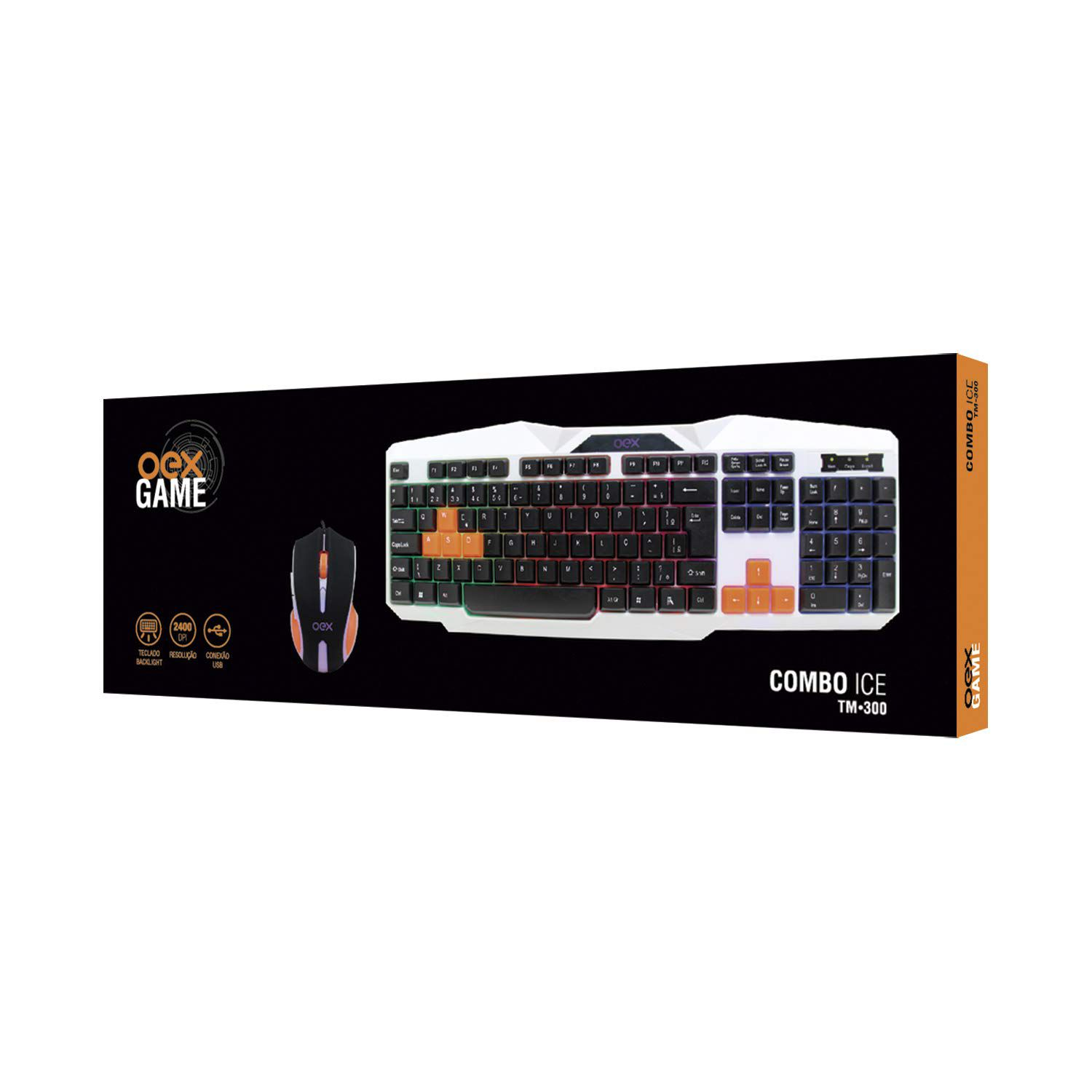 Kit Teclado e Mouse Gamer OEX Combo Ice TM300