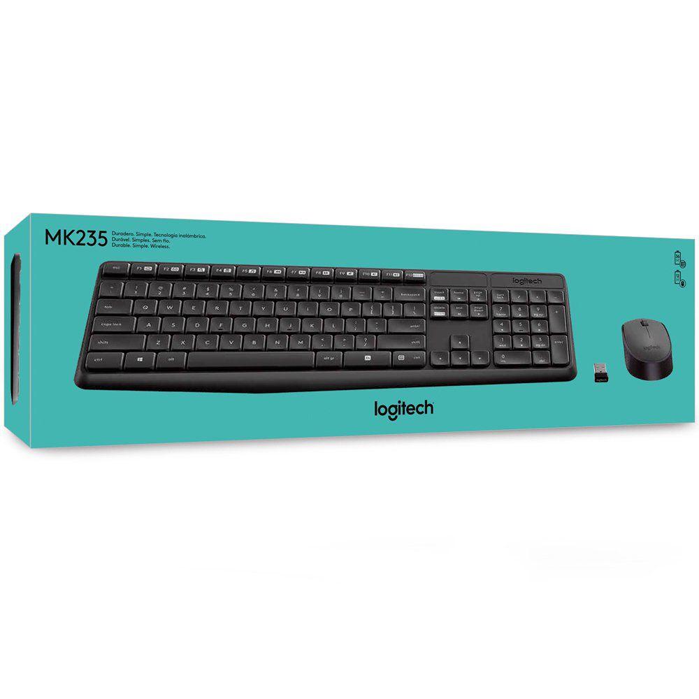 Kit Teclado e Mouse Logitech Wireless MK235 Preto