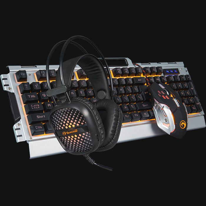 Kit Teclado Mouse Headset Marvo CM303 Gaming Scorpion