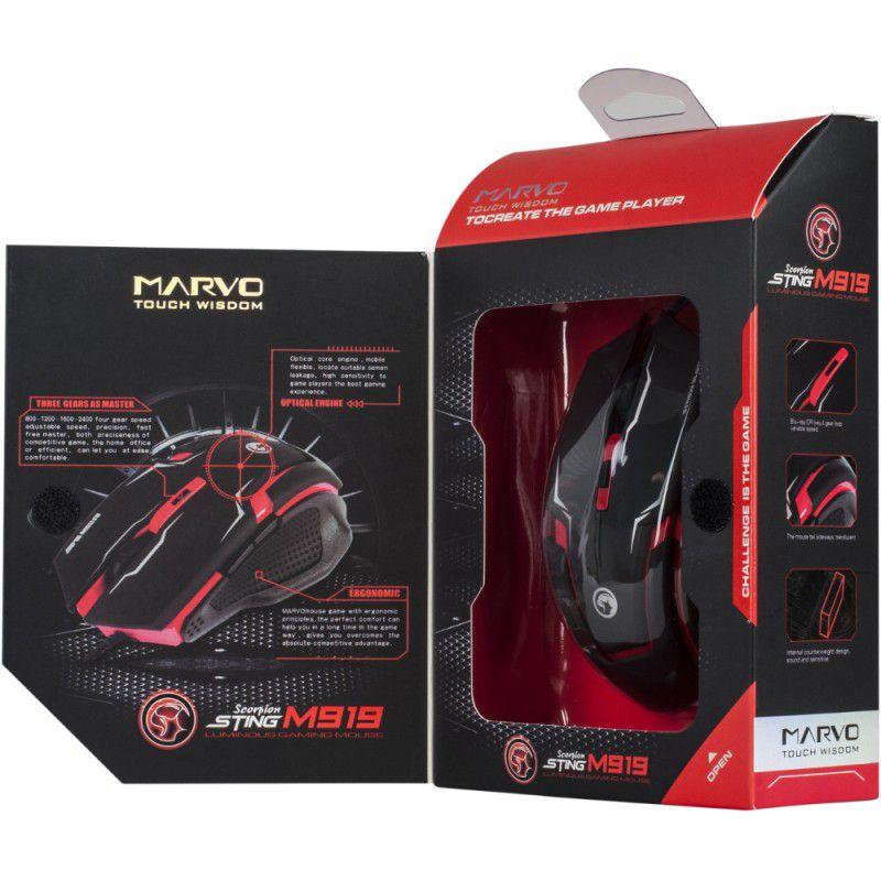 Mouse Gamer Marvo Scorpion M319 Preto e Vermelho