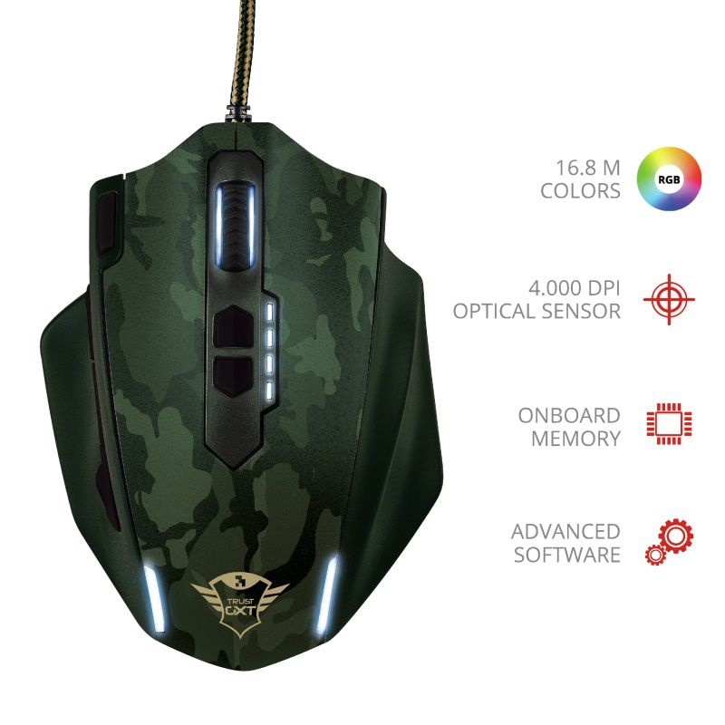 Mouse Gaming Trust GXT 155C Caldor Green Camouflage