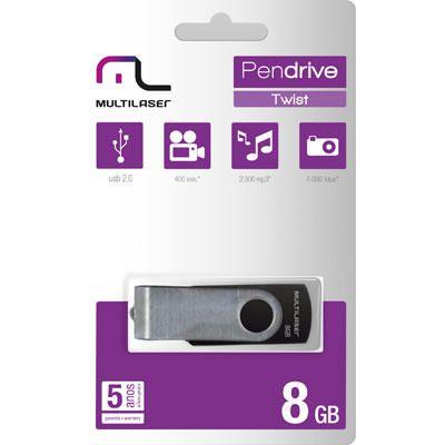 Pen Drive Multilaser 8GB Twist USB 2.0 PD587