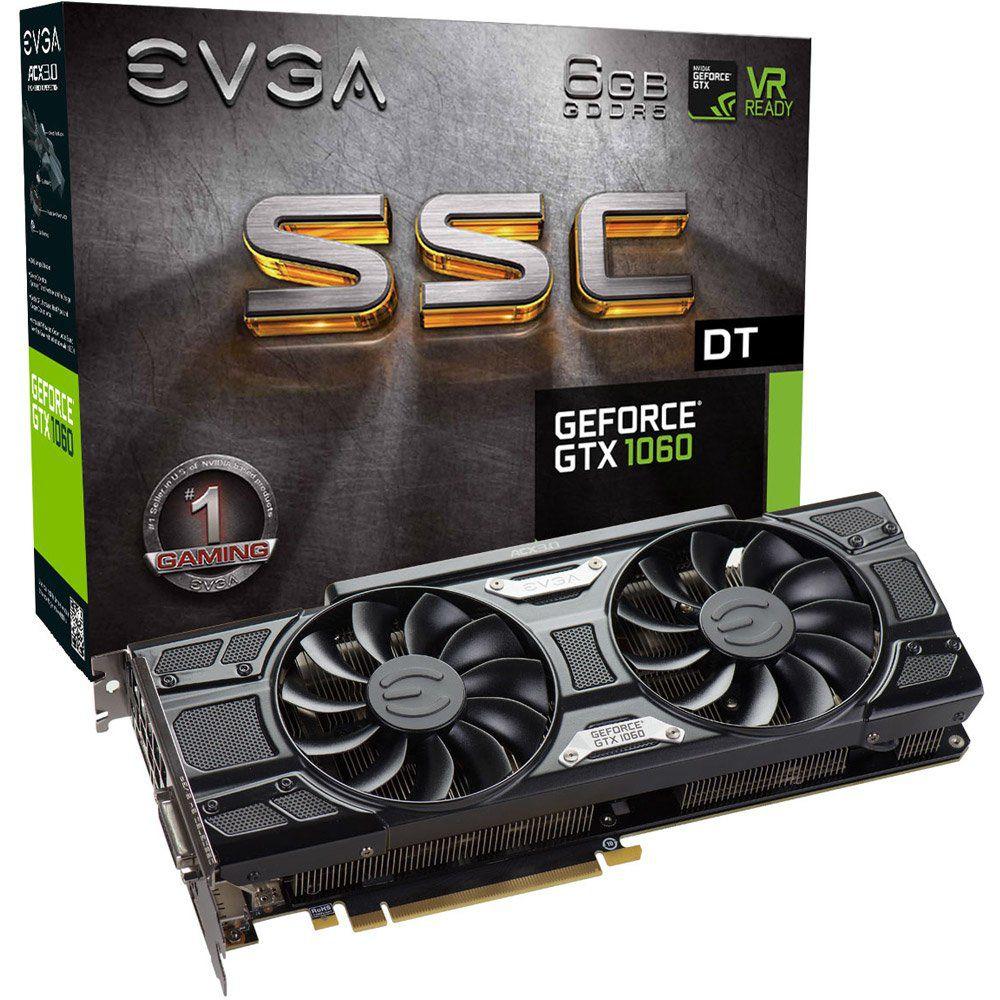 Placa de Vídeo EVGA NVIDIA GEFORCE GTX 1060 ACX 6GB GDDR5 192Bits 06G-P4-6265-KR