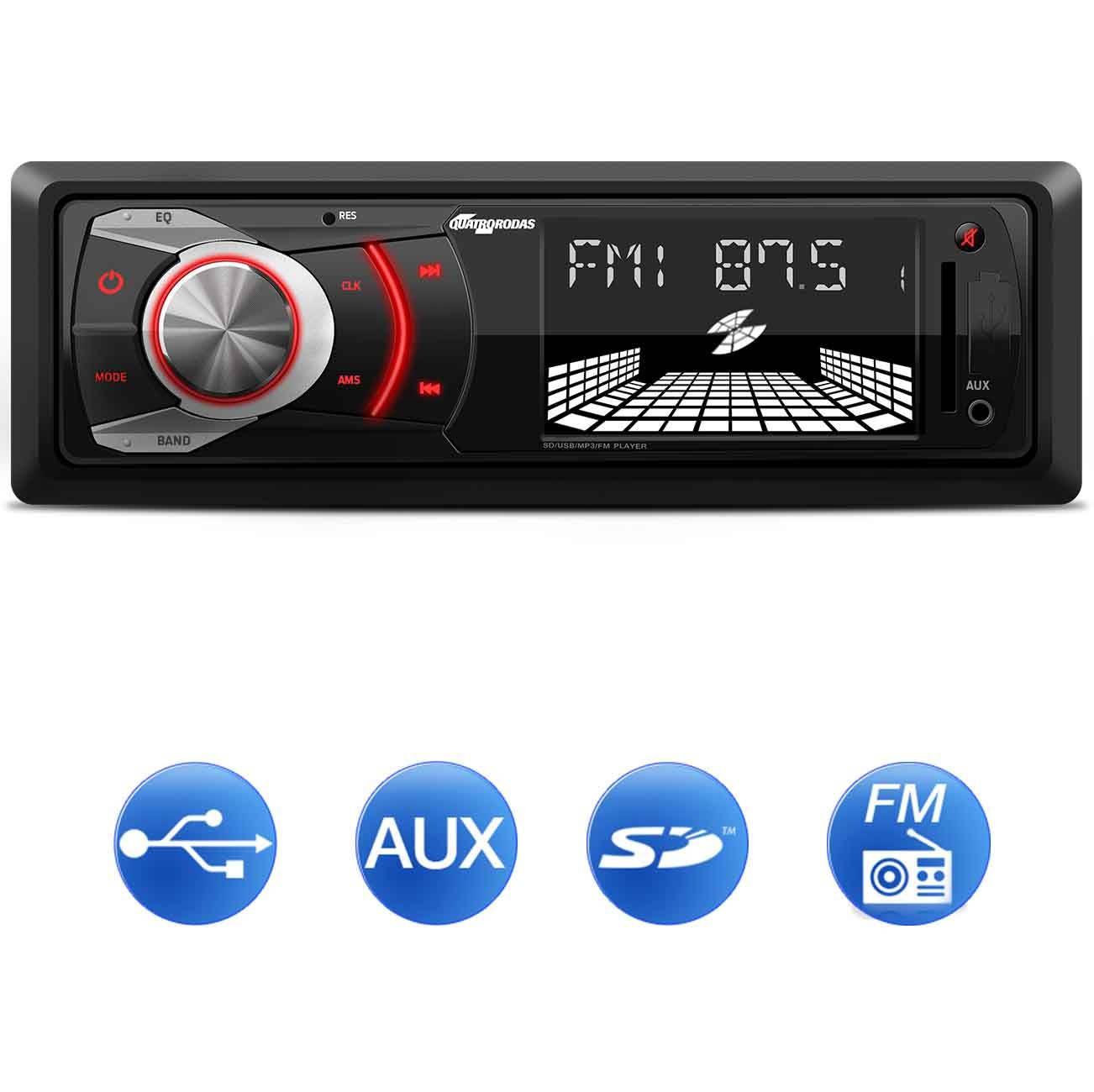 Som Automotivo Quatro Rodas MP3 Player Entrada USB, SD e Auxiliar MTC6608