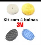 Kit 4 Boinas De Polimento 3m Branca + Amarela + Cinza + Azul