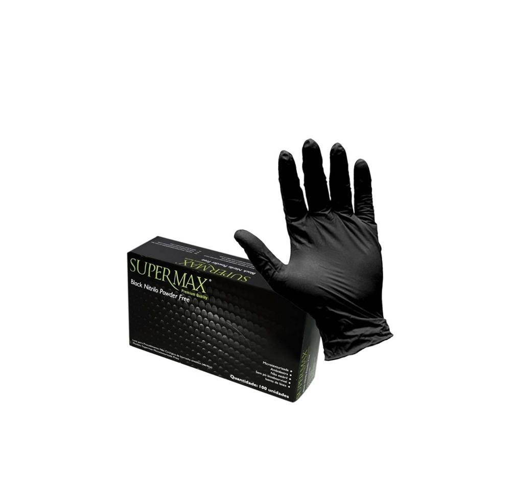 Luva Super Max Black Nitrilo Powder Free 100 Unid. Tam. G
