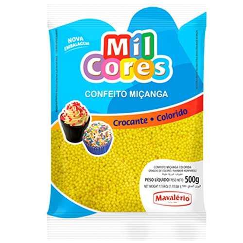 Confeito Miçanga Mil Cores Mavalério Amarelo 500g