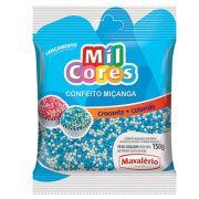 Confeito Miçanga Branca/Azul N°0 Crocante 150g - Mavalério