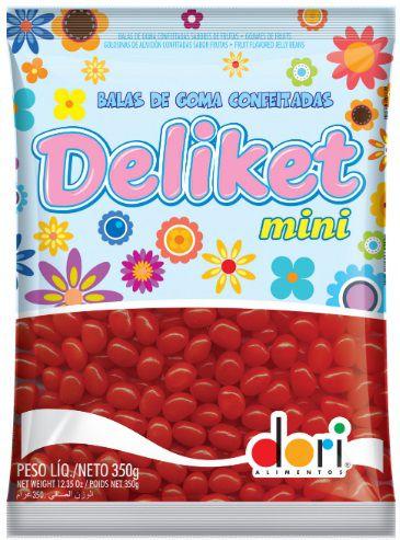 Balas De Goma Confeitada Deliket Mini Vermelho 350g - Dori