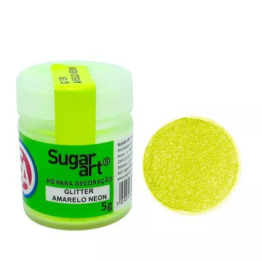 Pó Para Decoração Glitter Amarelo Neon 5g - Sugar Art