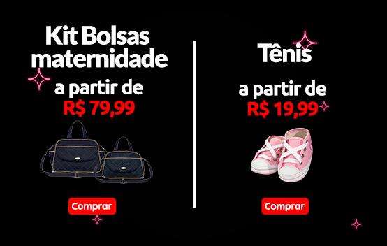 kit bolsas maternidade a partir de r$ 79,99 e tênis por r$ 19,99