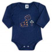 Body de Bebê Azul com Bordado Girafa - Sophy