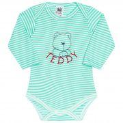 Body para Bebê Bordado Ursinho Teddy - Verde - Sophy