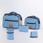Bolsa Maternidade 5 peças Urso Azul Strutz