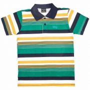 Camiseta Polo Infantil Masculino Quimby 27834 1/2 Malha Verde