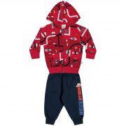 Conjunto Infantil Elian com Jaqueta e Calça em Moletom - Ref 20755 - Vermelho