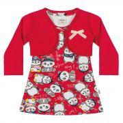 Conjunto Infantil Elian com Vestido e Bolero Ref 21872 - Vermelho