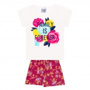 Conjunto Infantil Feminino - Ref 1027 - Pérola/Pink - Pitico