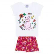 Conjunto Infantil Feminino - Ref 1045 - Branco/Pink - Pitico