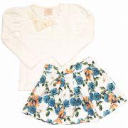 Conjunto Infantil Feminino Romance Blusa e Saia Kiki Xodó 5314 Branco com Azul