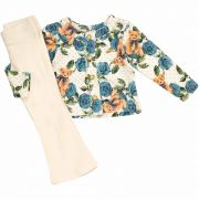 Conjunto Infantil Feminino Ursinho Floral Blusa e Calça  Kiki Xodó 3188 Azul e OffWhite