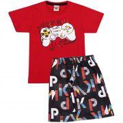 Conjunto Infantil Masculino Game Play  Camiseta e Bermuda Pimentinha Kids Branco