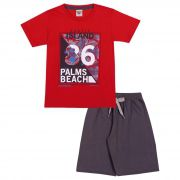 Conjunto Infantil Masculino Palms Camiseta e Bermuda Pimentinha Kids Vermelho