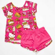 Pijama Infantil Feminino Hello Kitty Sanduiche Rosa