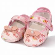 Sapatilha Infantil Feminina Baby Soffete Flor e Laço Rosa