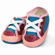 Tênis Infantil Feminino Baby Soffete Jeans com Glitter