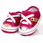 Tênis Infantil Feminino Baby Soffete Pink com Dourado