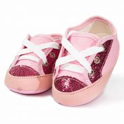 Tênis Infantil Feminino Baby Soffete T13 Rosa com Glitter