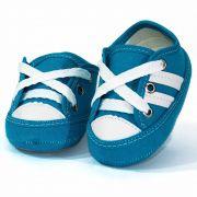 Tênis Infantil Masculino Baby Soffete T45 Turquesa com Branco