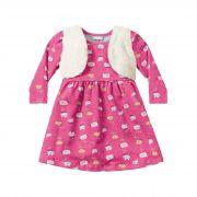 Vestido com colete Infantil Fakini - Gatinhos Rosa