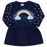Vestido Feminino Infantil Andritex em Moletom 050 Marinho