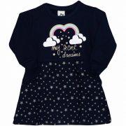 Vestido Feminino Infantil Andritex em Moletom 051 Marinho