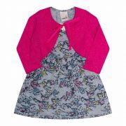 Vestido Infantil com Bolero  2 peças - Ref 14151 - Mescla/Pink - Ralakids