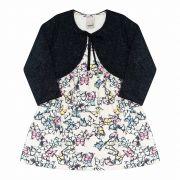 Vestido Infantil com Bolero  2 peças - Ref 14151 - Off White/Preto - Ralakids
