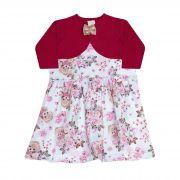 Vestido Infantil Feminino + Bolero - Ref 7441 - Vinho - Ralakids