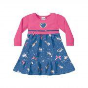 Vestido Manga Longa Infantil Fakini - Rosa Chiclete